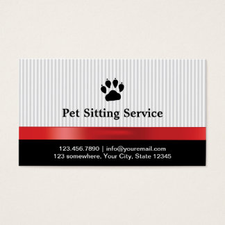 Pet Sitting Cute Paw Print Red Ribbon Business Card