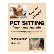 Pet Sitting dog and cat flyer