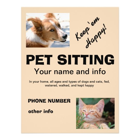 Pet Sitting Dog And Cat Flyer Zazzle Com