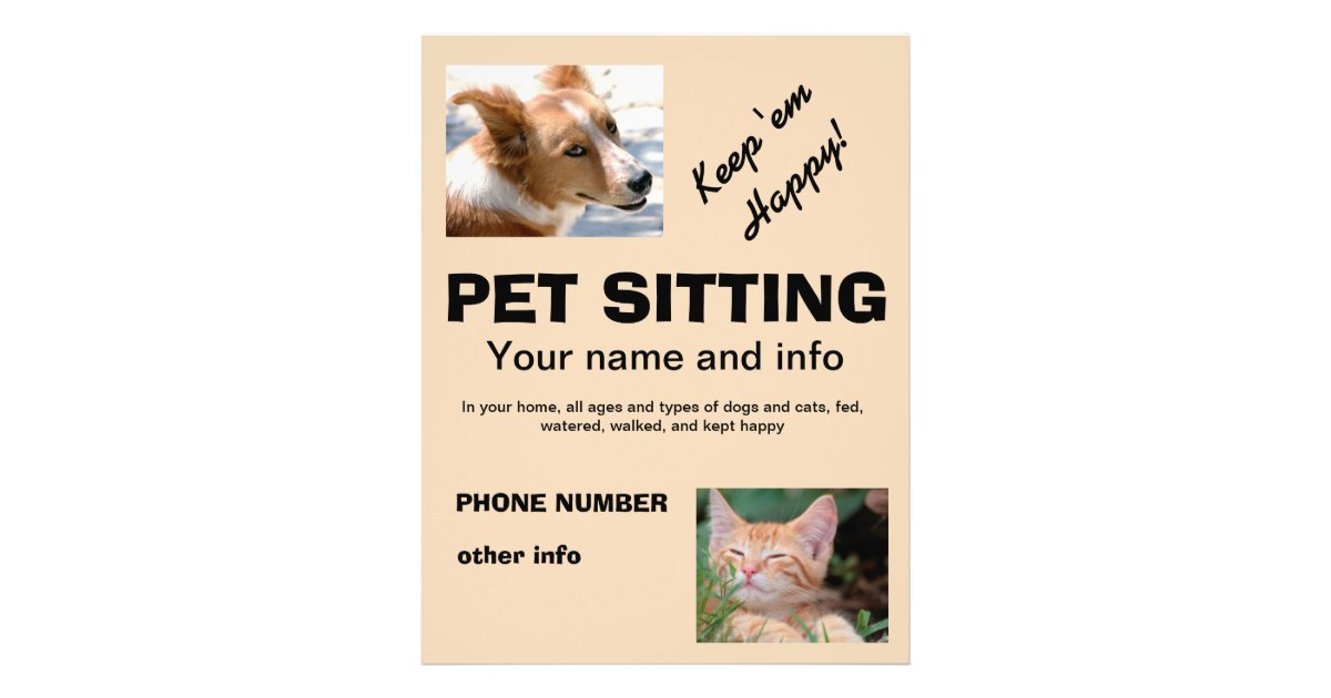 Pet Sitting Dog And Cat Flyer Zazzle