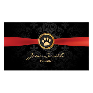 Pet Sitting Elegant Red Ribbon Gold Paw Damask Double-Sided Standard Business Cards (Pack Of 100)