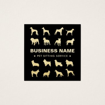 Pet Sitting Modern Black & Gold Square Business Card
