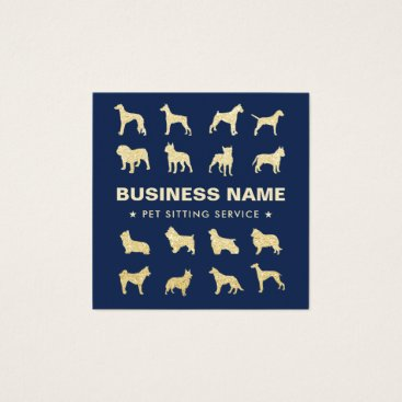 Pet Sitting Modern Gold Dogs Silhouettes Navy Blue Square Business Card