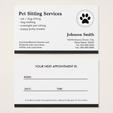 Pet Sitting Pet Care - Appointment Business Card at Zazzle