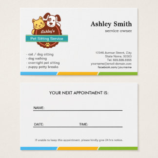 Pet Sitting Service Appointment Card