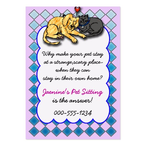 pet sitting service large business cards (Pack of 100)