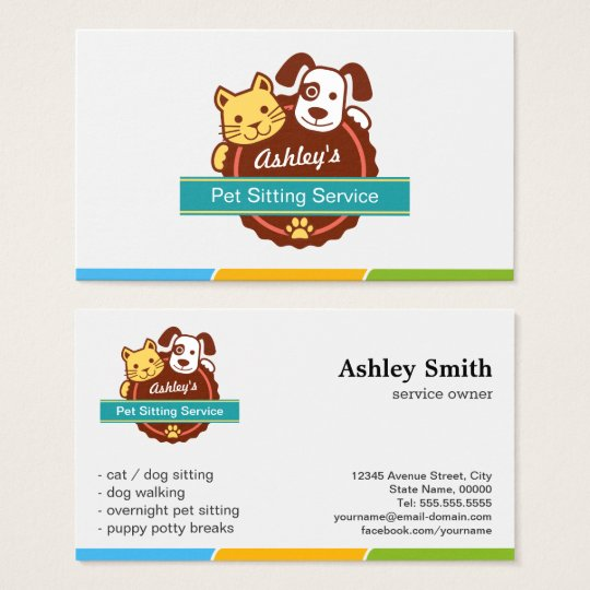 pet sitting service business card. Black Bedroom Furniture Sets. Home Design Ideas