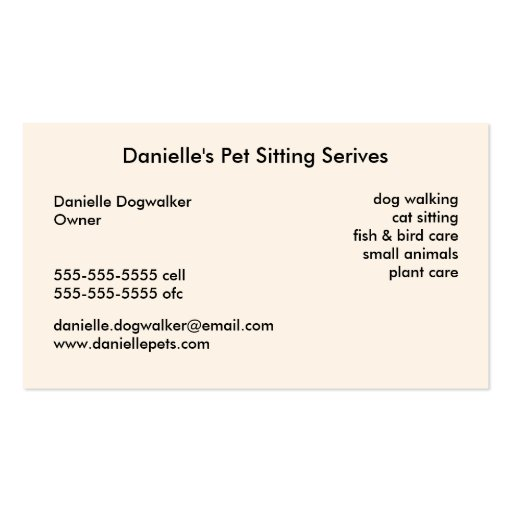 Pet Sitting Services Business Cards (back side)