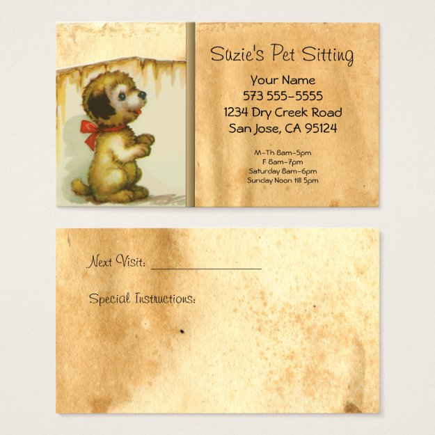 Pet Sitting Vintage Cat Business Card