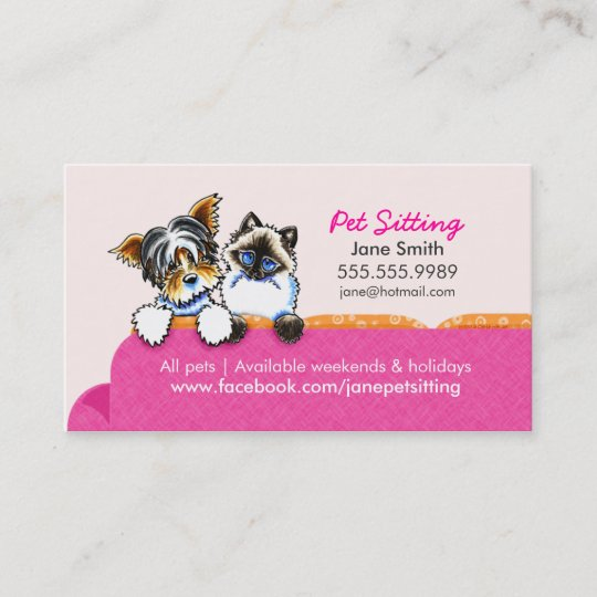 pet sitting yorkie w cat couch pink business card zazzle com