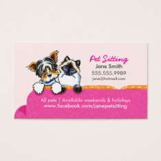 Pet Sitting Yorkie W/ Cat Couch Pink Business Card at Zazzle