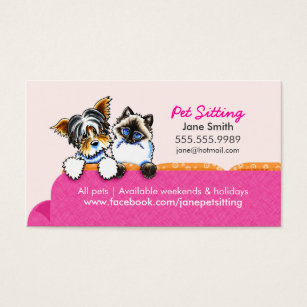 Pet business cards templates zazzle pet sitting yorkie w cat couch pink business card colourmoves