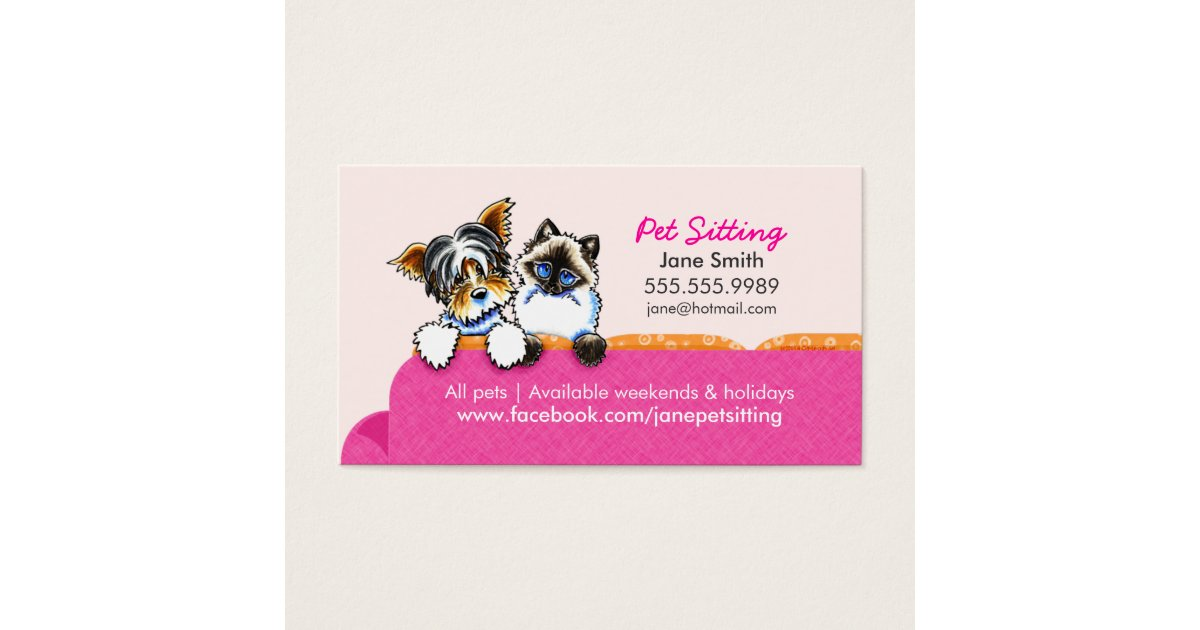 Pet Sitting Yorkie w/ Cat Couch Pink Business Card | Zazzle.com