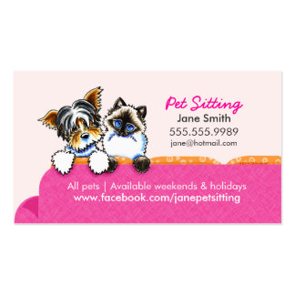 Pet Sitting Yorkie w/ Cat Couch Pink Double-Sided Standard Business Cards (Pack Of 100)