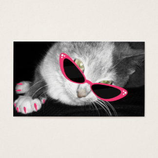 Pet Spa Salon - Cat With Pink Sunglasses & Claws Business Card