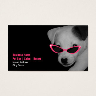 Pet Spa Salon - Dog With Pink Sunglasses Business Card