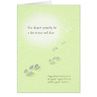 Pet Sympathy Card - Deepest Sympathy Pawprints
