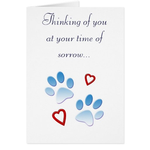 Pet Sympathy Card Paws and Hearts