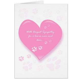 Pet Sympathy Card - Pink Heart & Pawprints