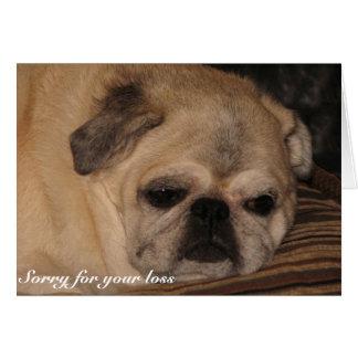 Pet sympathy card Pug