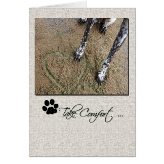 Pet Sympathy Dog Paw in Heart in the Sand Greeting Card