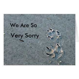 Pet Sympathy - dog paws in the sand Greeting Card