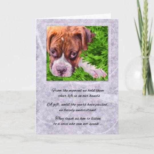 pet sympathy loss of a dog boxer with purple card zazzle com