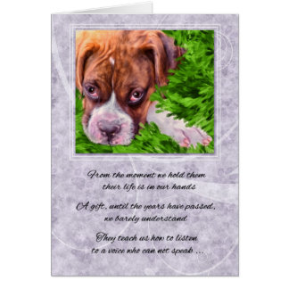 Pet Sympathy Loss of a Dog - Boxer with Purple Card