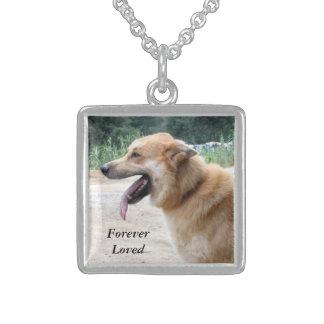 Pet Sympathy Photo Necklace, Dog Sympathy Gift Sterling Silver Necklace
