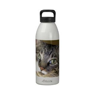 Pet Tabby Cat Face Photo Reusable Water Bottle