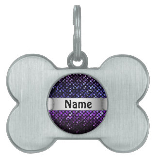 Pet Tag Purple Crystal Bling Strass