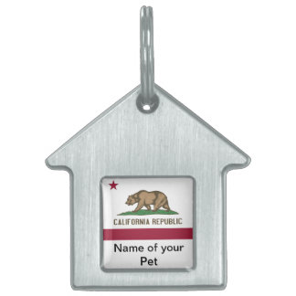 Pet Tag with Flag of California State