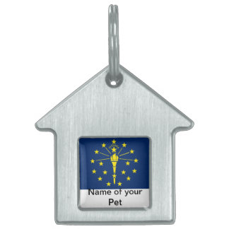 Pet Tag with Flag of Indiana State