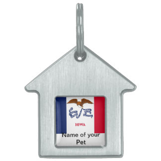 Pet Tag with Flag of Iowa State