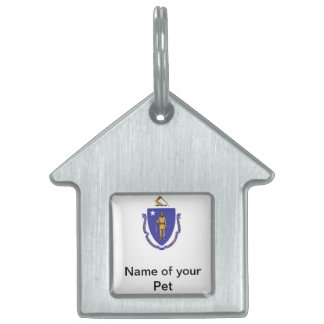 Pet Tag with Flag of Massachusetts State