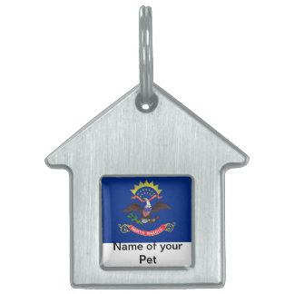 Pet Tag with Flag of North Dakota State