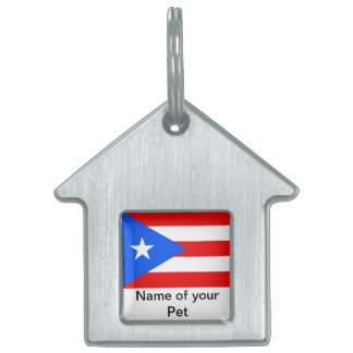 Pet Tag with Flag of Puerto Rico State