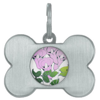 Pet Tag with Pink Lilies