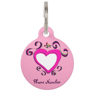 Pet tags template heart pink