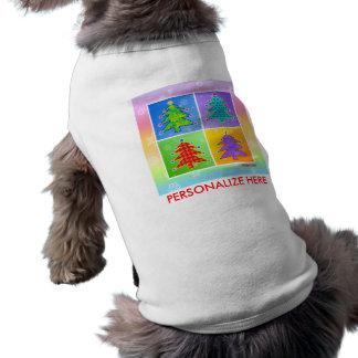 Pet Tees - Pop Art Christmas Trees Dog Tee Shirt