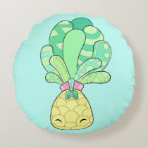 Pet the Pineapple - Cute Cushion! Sky Blue Round Pillow