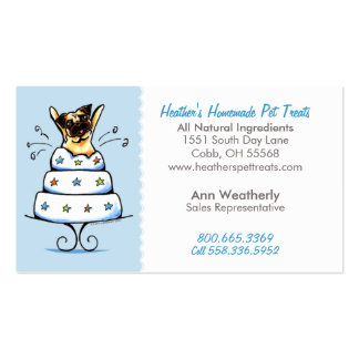 Pet Treats Bakery n Parties Pug Baby Blue Double-Sided Standard Business Cards (Pack Of 100)