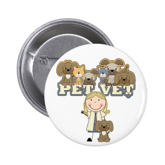 Pet Vet Blond Female Tshirts and Gifts Pinback Button