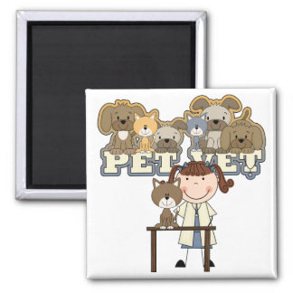 Pet Vet Brunette Female Tshirts and Gifts 2 Inch Square Magnet
