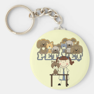 Pet Vet Brunette Female Tshirts and Gifts Key Chains