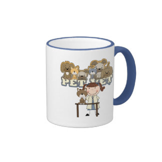 Pet Vet Brunette Female Tshirts and Gifts Ringer Coffee Mug