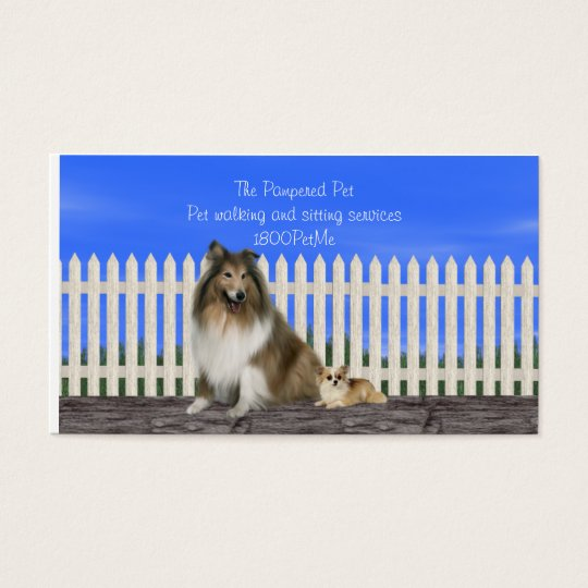 Pet walking and sitting services business card
