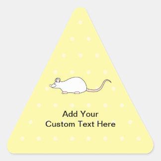 Pet White Mouse. Yellow Polka Dot Background. Triangle Sticker