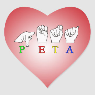 PETA  ASL FINGERSPELLED SIGN NAME STICKERS