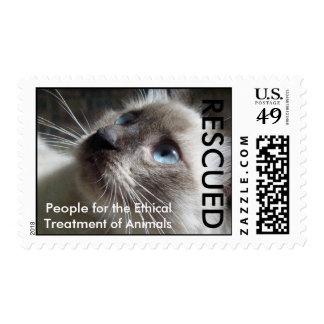 PETA Cat Rescued Stamp
